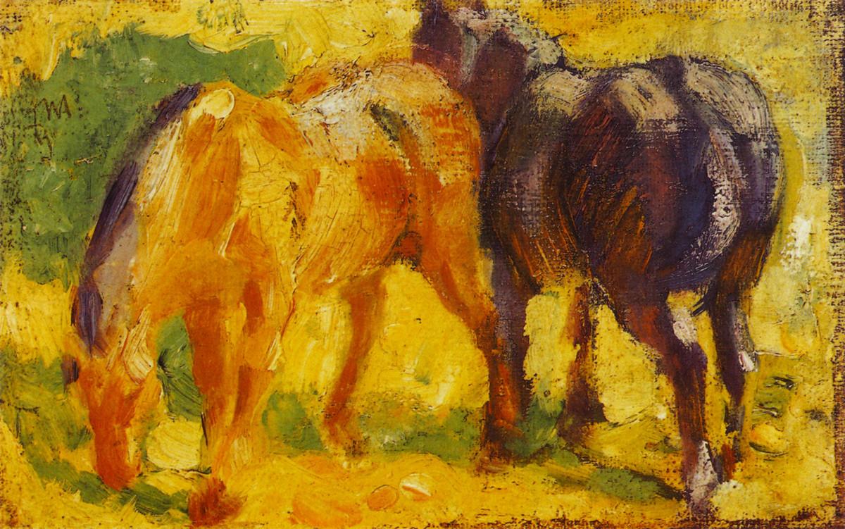 Klein Pferd Abbildung öl Von Franz Marc 1880 1916 France