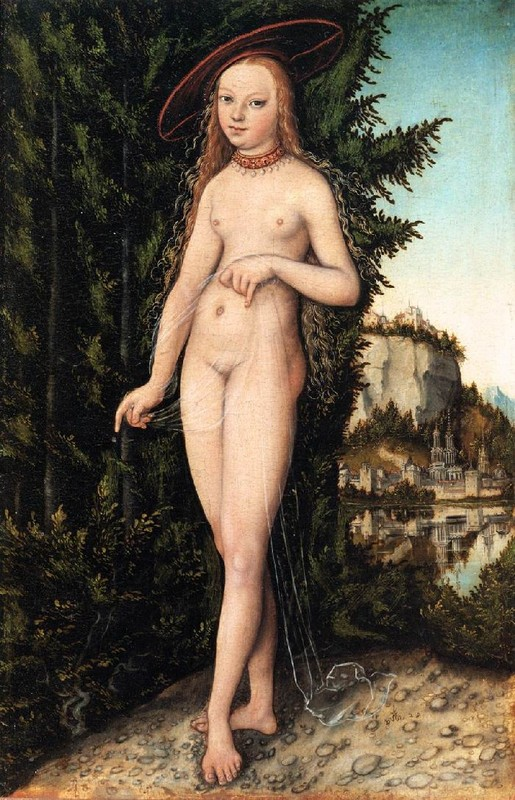 'Venus Standing in a Landscape', öl von Lucas Cranach The Elder (1472-1553, Germany)