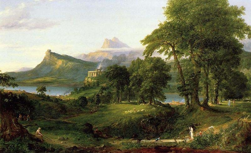 'Der Course of Empire, The Arcadian oder Pastoral Staat', öl von Thomas Cole (1801-1848, England)