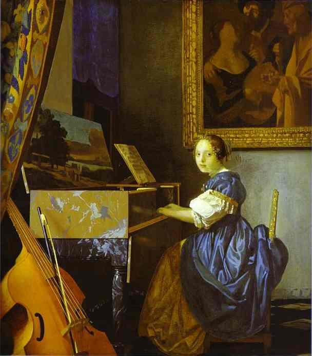 Lady in einem virginal seated jan vermeer öl lady in einem virginal