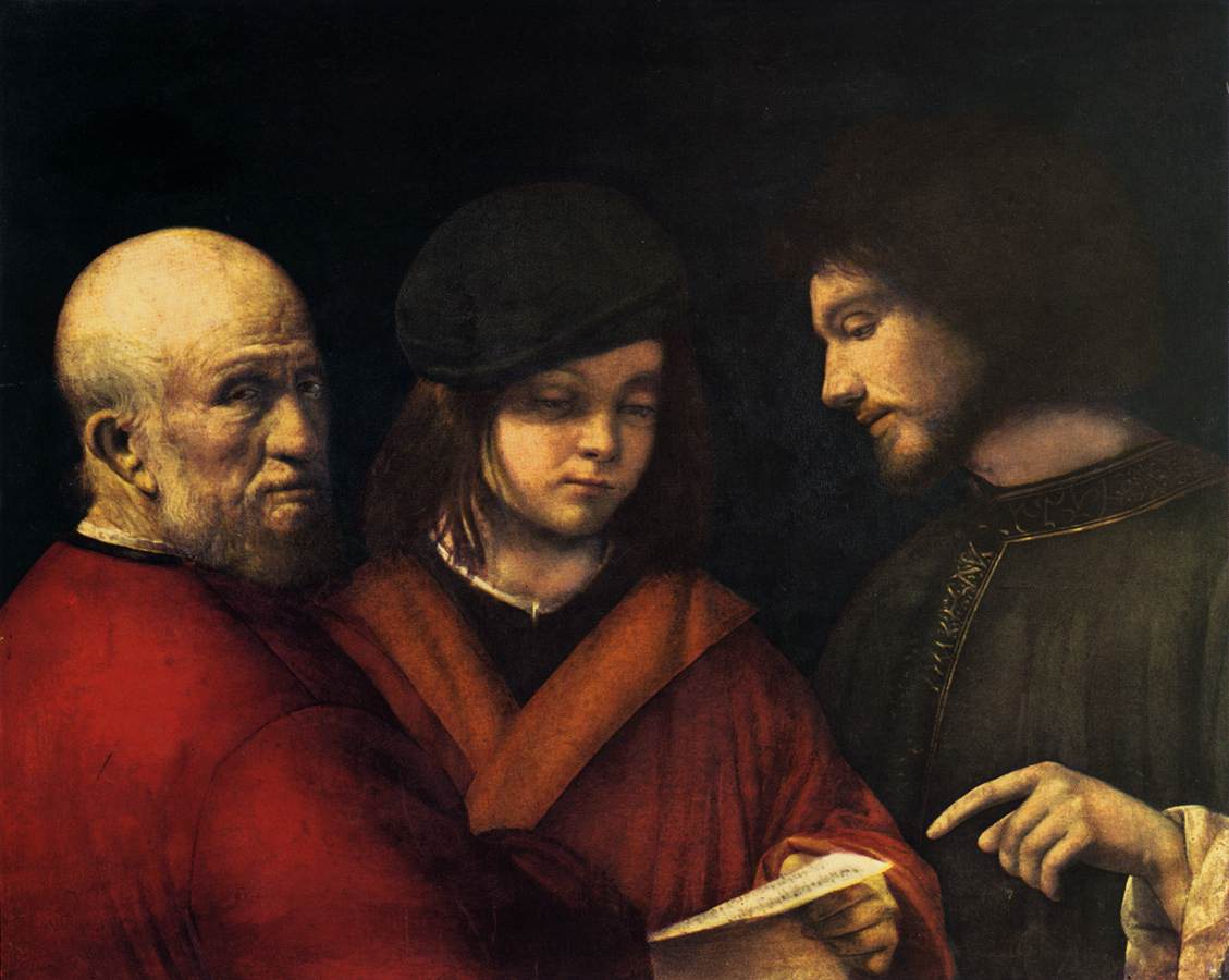 Giorgione - Giorgio Barbarelli >> The Three Ages of Man  |  (öl, Gemälde, Reproduktion, Kopie, Gemälde).