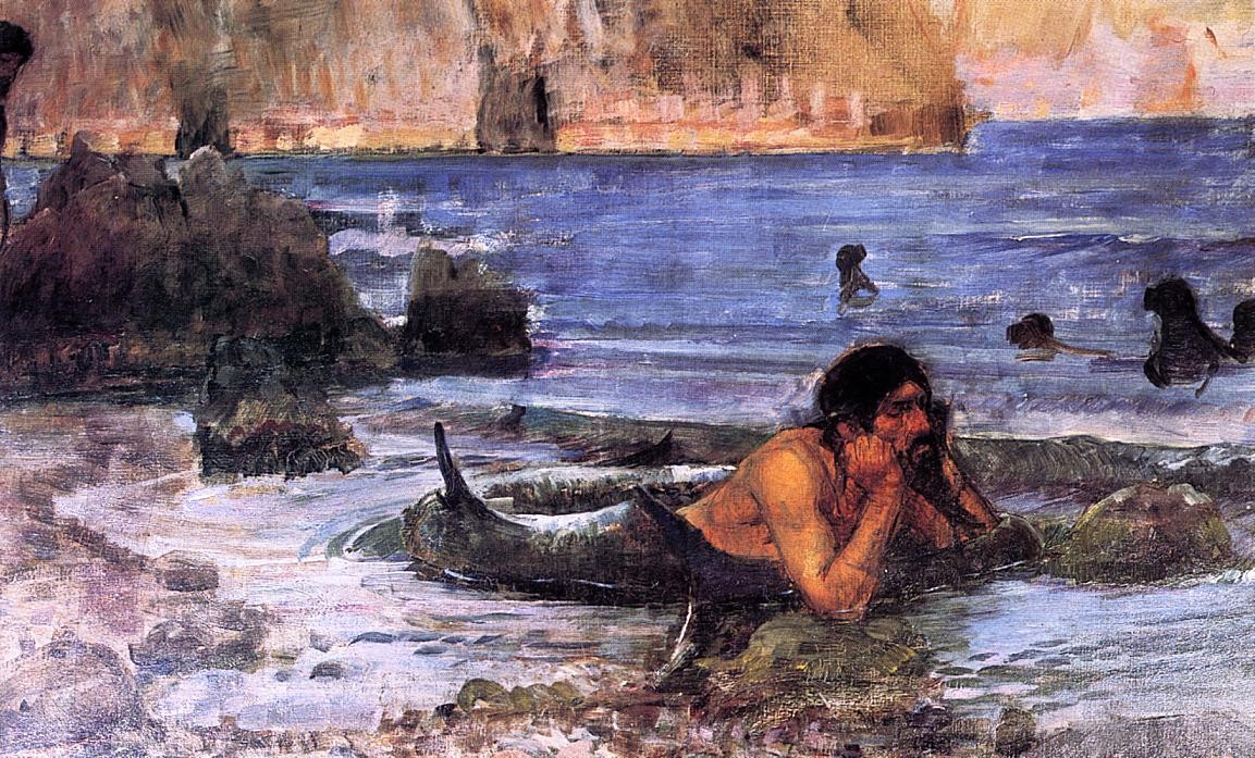 John William Waterhouse >> The Merman (sketch)  |  (öl, Gemälde, Reproduktion, Kopie, Gemälde).