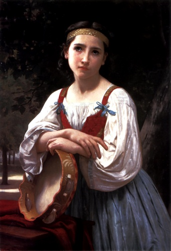 Bohémienne der baskischen Drum, öl von William Adolphe Bouguereau (1825-1905, France)