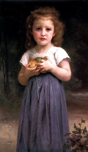 Maiden und Kinder, öl von William Adolphe Bouguereau (1825-1905, France)