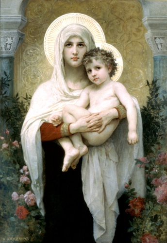 Die Madonna mit Rosen, öl von William Adolphe Bouguereau (1825-1905, France)