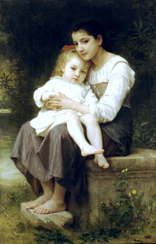 La soeur Ainee, öl von William Adolphe Bouguereau (1825-1905, France)