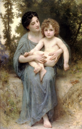 Der jüngere Bruder, öl von William Adolphe Bouguereau (1825-1905, France)