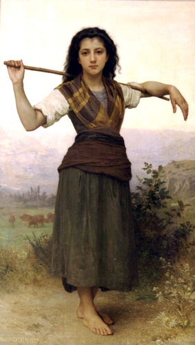 Pastourelle, öl von William Adolphe Bouguereau (1825-1905, France)