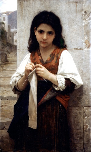 Knitter 1879, öl von William Adolphe Bouguereau (1825-1905, France)