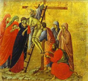Duccio Di Buoninsegna - Maesto (Rücken, Mitteltafel), The Deposition