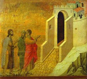 Duccio Di Buoninsegna - Maesto (Rücken, Mitteltafel), The Road to Emmaus