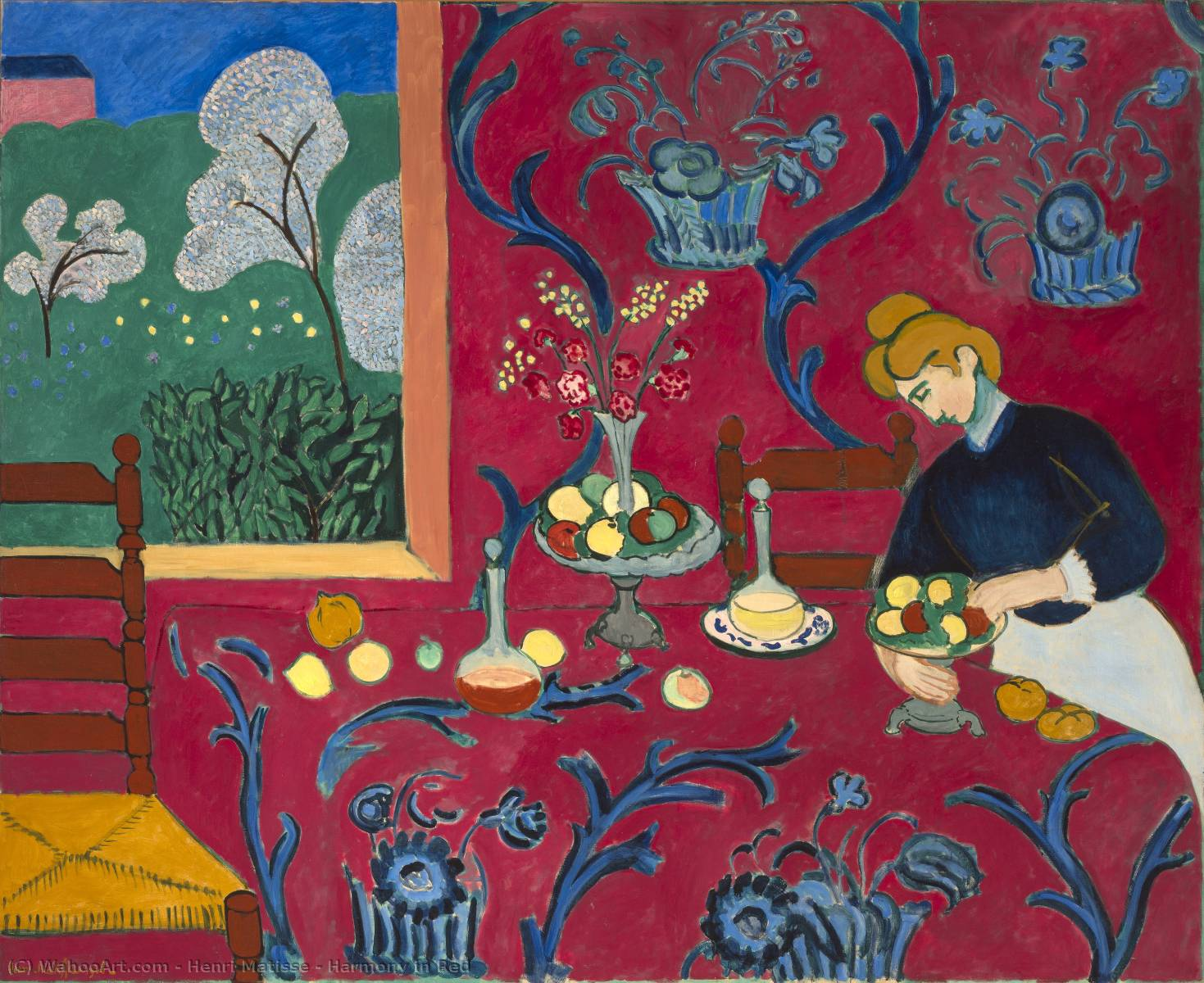 harmonie in rot 1908 von henri matisse 1869 1954 france kunstdrucke auf leinwand. Black Bedroom Furniture Sets. Home Design Ideas
