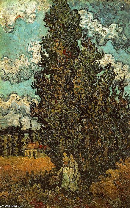 Zypressen und zwei Frauen , 1890 von Vincent Van Gogh (1853-1890 ...