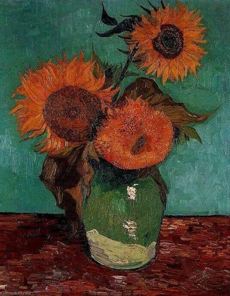 Bestellen Malerei Kopie Drei Sonnenblumen In Einer Vase Von