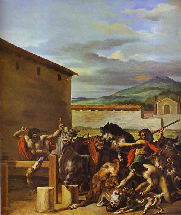 Taming of the Bulls, öl von Jean-Louis André Théodore Géricault (1791-1824, France)