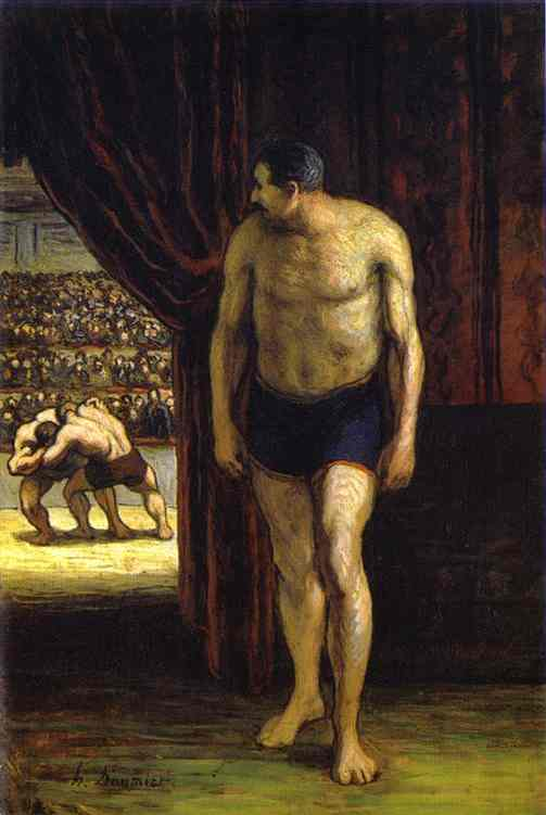 The Wrestler, öl von Honoré Daumier (1808-1879, France)