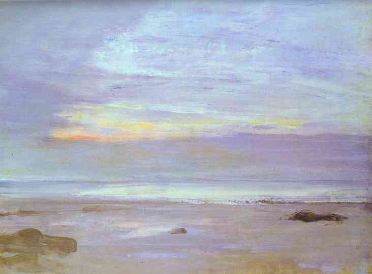 Crepuscule in Opal, Trouville, öl von James Abbott Mcneill Whistler (1834-1903, Us)
