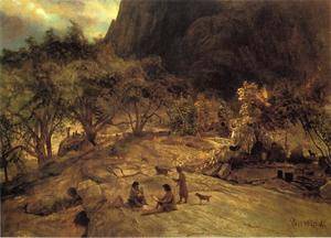 Albert Bierstadt - mariposa indian encampment , Yosemite Tal , Kalifornien