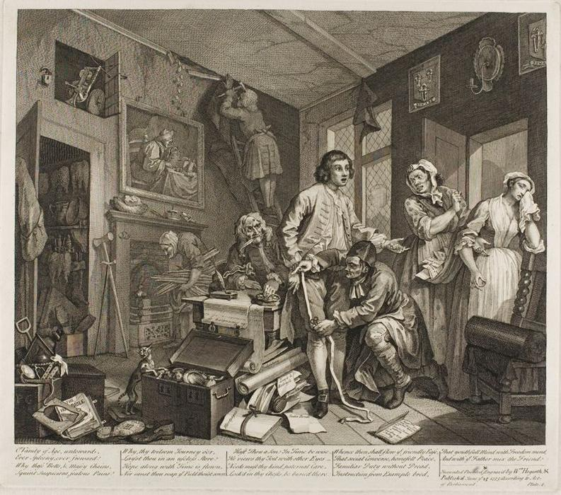 Plate one , von einem Rake`s Progress von William Hogarth (1697-1764, United Kingdom) | Berühmte Gemälde Reproduktionen | WahooArt.com