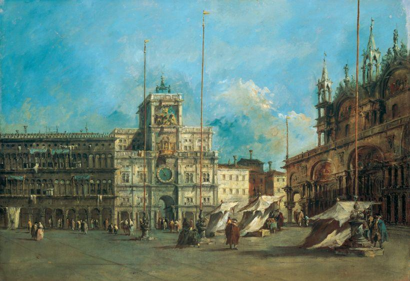 Verweigern St Mark Platz in Venedig mit dem Clocktower  von Francesco Lazzaro Guardi (1712-1793, Italy) | WahooArt.com