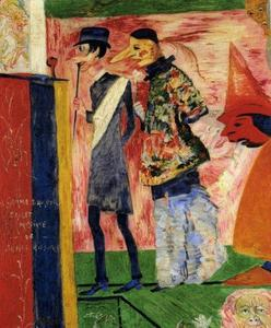 James Ensor - Person devant l affiche de La Gamme d Amour