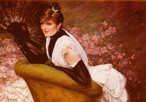 James Jacques Joseph Tissot - portrait de Frau Ein L-Eventail