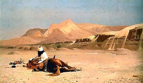 ein araber und sein pferd in der w ste l von jean l on. Black Bedroom Furniture Sets. Home Design Ideas
