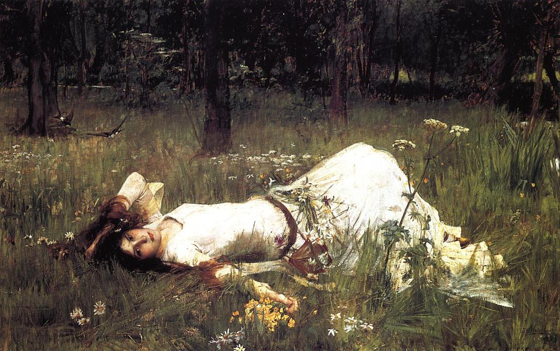 Ophelia 1, 1889 von John William Waterhouse (1849-1917, Italy) | Kunstreproduktionen John William Waterhouse | WahooArt.com