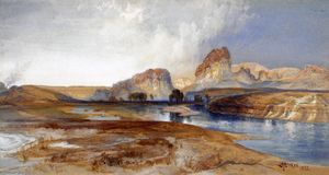 Thomas Moran - Klippen , grüner fluss , Wyoming