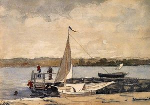 Winslow Homer - A Sloop in einem Kai, Gloucester