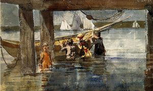 Winslow Homer - Childred Playing unter Gloucester Wharf