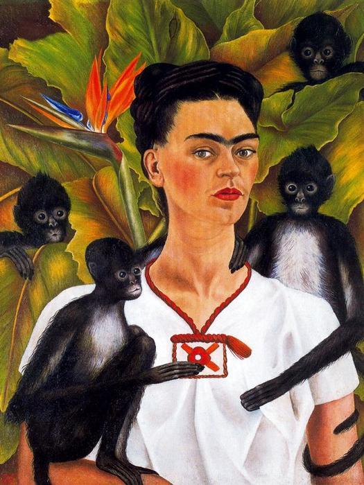 autorretrato con monos l von frida kahlo 1907 1954 mexico. Black Bedroom Furniture Sets. Home Design Ideas