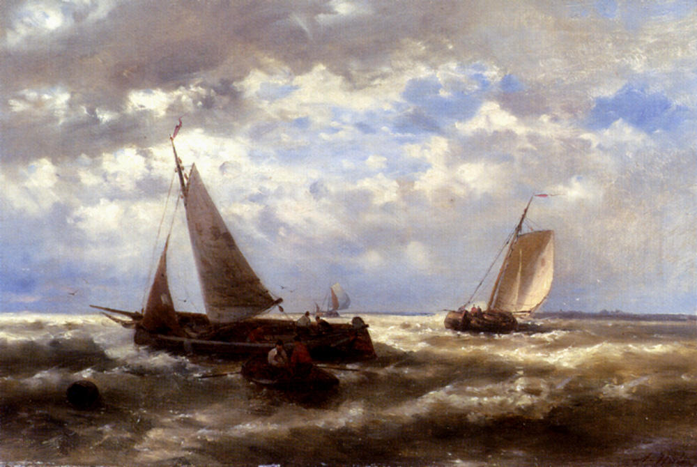 A Windy Day von Abraham Hulk Senior (1813-1897, Netherlands) | WahooArt.com