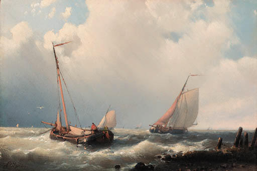 Trawlers Off The Mole, öl von Abraham Hulk Senior (1813-1897, Netherlands)