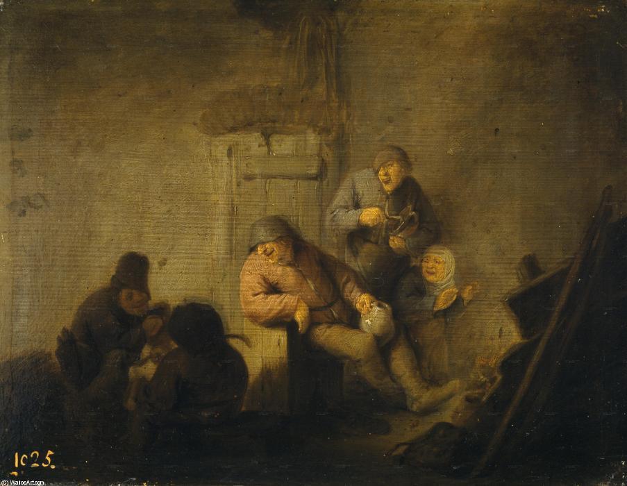küche, öl von Adriaen Van Ostade (1610-1685, Netherlands)