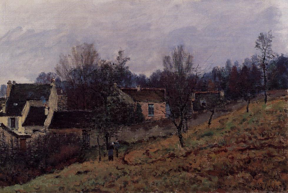 herbst in louveciennes, öl auf leinwand von Alfred Sisley (1839-1899, France)