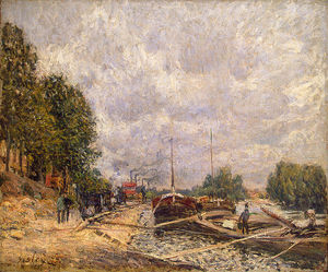 Alfred Sisley - Barges bei Billancourt