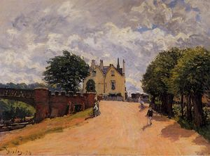 Alfred Sisley - Inn at East Molesey mit Hampton Court Bridge