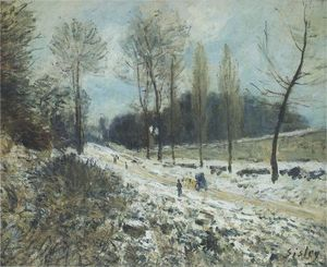 Alfred Sisley - Route zu Marly Le Roi in Snow