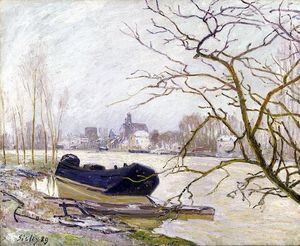 Alfred Sisley - loing bei  hohe  wasser
