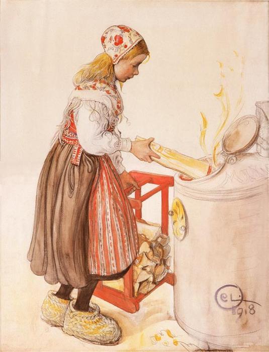 lillanna feeds der heizung wasserfarbe von carl larsson 1853 1919 sweden. Black Bedroom Furniture Sets. Home Design Ideas