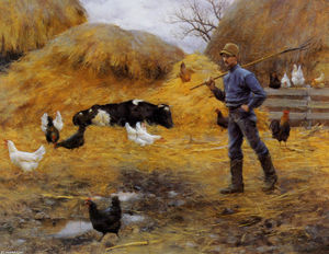 Charles Courtney Curran - In The Barnyard