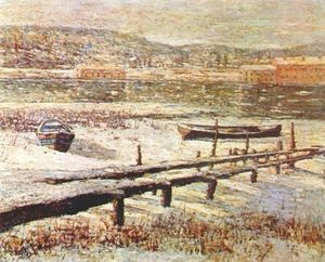 Ernest Lawson - winter auf dem fluss