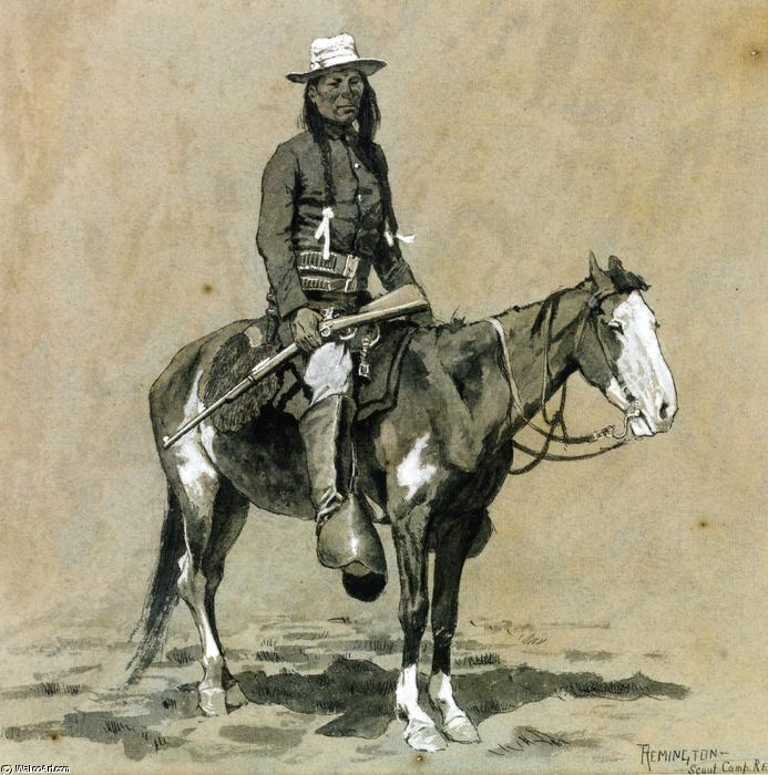 Indian Scout bei Fort Reno, wasserfarbe von Frederic Remington (1861-1909, United States)