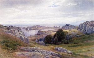William Trost Richards - küste mit segelschiff , Newport
