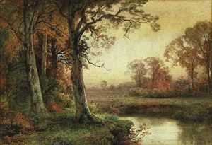William Trost Richards - landschaft mit strom in herbst