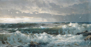 William Trost Richards - Surf auf Felsen