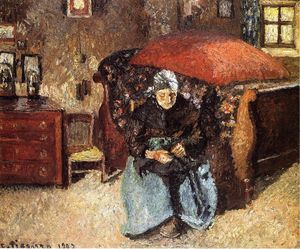 Camille Pissarro - Elderly Woman Mending alte Kleidung, Moret