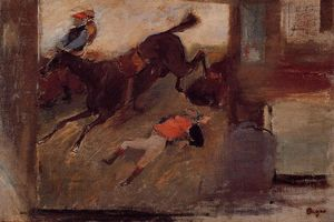 Edgar Degas - Studio-Innenraum mit 'The Steeplechase'