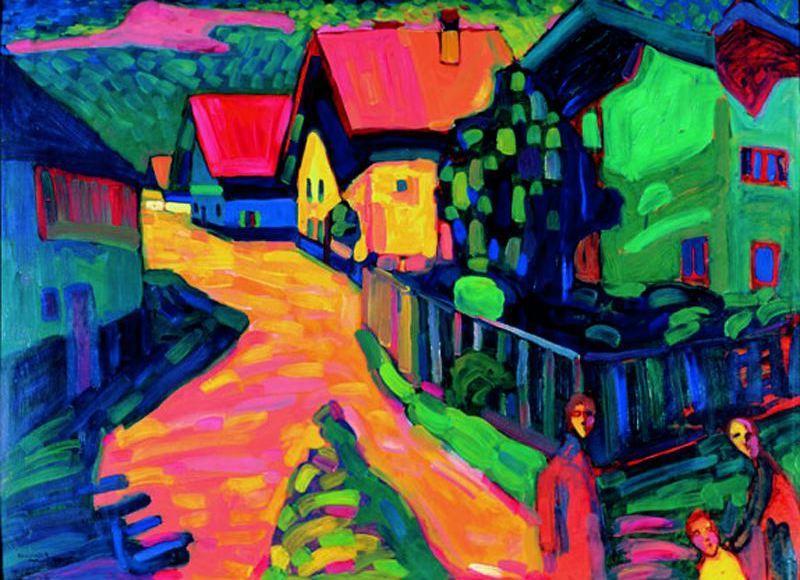 Murnau: Strasse mit Frauen